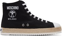 Moschino Black Espadrille High Top Sneakers