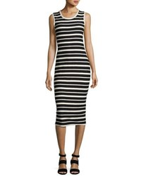 Max Studio Textured Striped Sheath Dress Black White