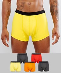 Asos Trunks In Multi Colours With Black Waistband 5 Pack Save Multi