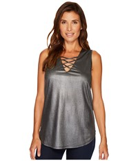 Rock And Roll Cowgirl Loose Fit Tank Top 49 3786 Steel Women's Sleeveless Silver