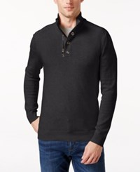 Inc International Concepts Men's Bankman Quarter Zip Eyelet Sweater Only At Macy's Heather Onyx