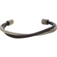 Zadeh Leather And Silver Cuff