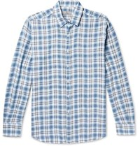 Canali Checked Linen Shirt Blue
