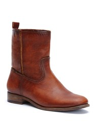 Frye Cara Leather Ankle Boots Cognac