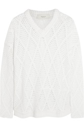 Pringle Open Knit Cashmere Blend Sweater White