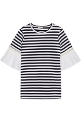 Clu Broderie Anglaise Trimmed Striped Cotton Jersey T Shirt Navy
