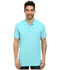 Lacoste Cotton Pique Vintage Wash Polo With Chevron Rib Corsica Aqua Dyed Men's Short Sleeve Pullover Blue