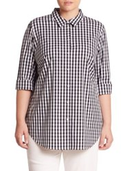 Lafayette 148 New York Paget Gingham Blouse Ink Multi