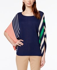 Ny Collection Striped Poncho Top Navy Combo