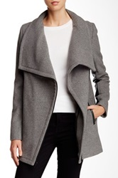 7 For All Mankind Leather Trim Wool Blend Cocoon Coat Gray