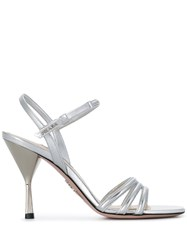 Prada Logo Plaque Metallic Sandals Silver