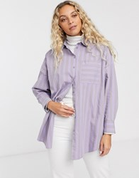 Monki Stripe Oversized Shirt In Lilac Purple