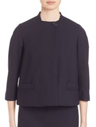 Piazza Sempione One Button Cropped Double Wool Jacket Navy