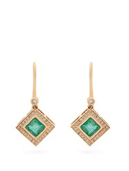 Jade Jagger Diamond Emerald And Yellow Gold Earrings Green