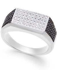 Macy's Men's Black And White Diamond 1 2 Ct. T.W. Ring In Sterling Silver