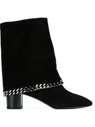 Casadei Chain Trim Fold Over Boots Black