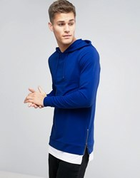 Asos Muscle Hoodie With Side Zips And T Shirt Hem Baleric Blue