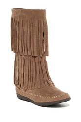 Refresh Jolin Fringe Faux Suede Boot Brown
