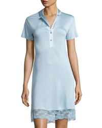 La Perla Airy Blooms Lace Trim Nightgown Light Blue