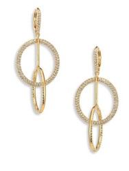 Adriana Orsini Linked Crystal Pave Circle Earrings Gold