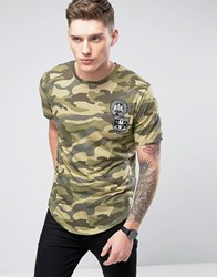 Only And Sons Camo Longline T Shirt With Curved Hem Badges Olive Night Green