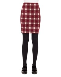 Akris Punto Brit Check Pencil Knee Length Wool Cashmere Skirt Multi Pattern