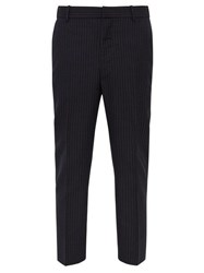 Alexander Mcqueen Mid Rise Pinstripe Wool Trousers Navy