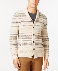 Tasso Elba Fair Isle Stripe Shawl Collar Cardigan Only At Macy's Ewe Marl Combo
