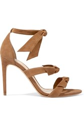 Alexandre Birman Lolita Bow Embellished Suede Sandals Tan