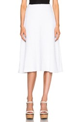 Sally Lapointe Stretch Boucle Flare Skirt In White