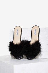 Valley Girl Feather Slide Sandal Black