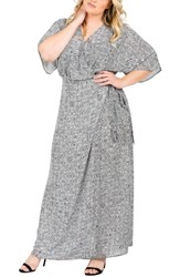 Standards And Practices Plus Size Women's Olivia Print Wrap Maxi Dress