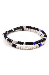 George Frost Men's Essaouira Bracelet Set Black White Blue