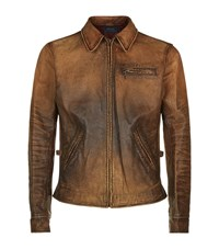 Polo Ralph Lauren Leather Harrington Jacket Male Cognac
