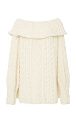 Marisa Witkin Off Shoulder Cable Knit Sweater Neutral