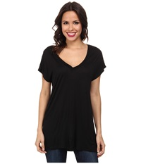 Allen Allen S S V Neck Tee Black Women's Short Sleeve Pullover