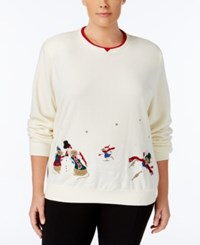 Alfred Dunner Plus Size Embroidered Holiday Sweater White