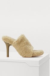 Yeezy Fake Shearling High Heeled Mules Taupe