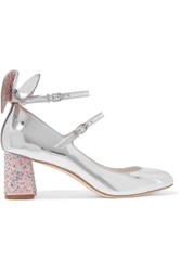 Sophia Webster Lilia Bow Embellished Mirrored Leather Mary Jane Pumps Silver