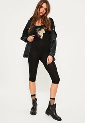 Missguided Black Oriental Tiger Long Sleeve 3 4 Leg Jumpsuit