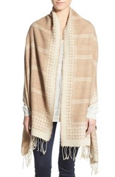 Junior Women's David And Young Houndstooth And Check Blanket Scarf Beige Taupe
