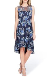 Tahari Embroidered Floral High Low Dress Navy Royal Ivory