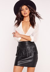 Missguided Fringe Front Faux Leather Mini Skirt Black Black