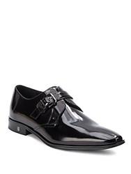 Versace Spazzolato Leather Buckle Shoes Black