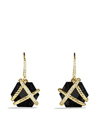 David Yurman Cable Wrap Drop Earrings With Black Onyx Yellow Gold