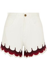Chloe Exclusive Scalloped Embroidered Denim Shorts White