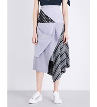 J.W.Anderson Jw Anderson Collaged High Rise Crepe Skirt Chambray
