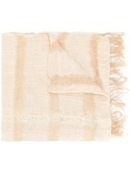 Issey Miyake Vintage Fringed Scarf Nude And Neutrals