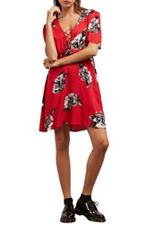 Volcom April March Lace Up Dress Red Rad
