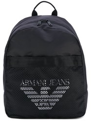Armani Jeans Mesh Logo Backpack Men Nylon Polyamide Polyester One Size Black